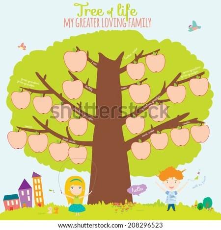 Vector Illustration Genealogical Family Tree Cute Stock Vector