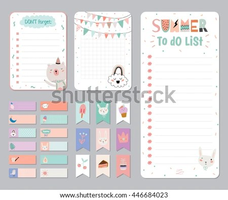 Cute Calendar Daily Weekly Planner Template Stock Vector 446684023 - calendar daily planner