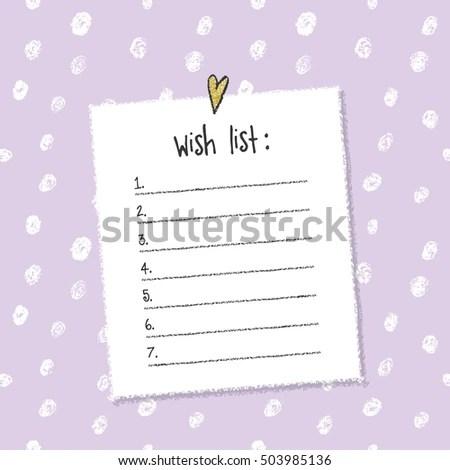 Christmas Wish List Template Hand Drawn Stock Vector (2018