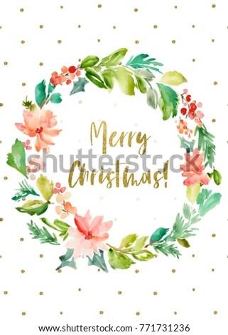 Printable Merry Christmas Card Background Watercolor Stock - christmas card printable