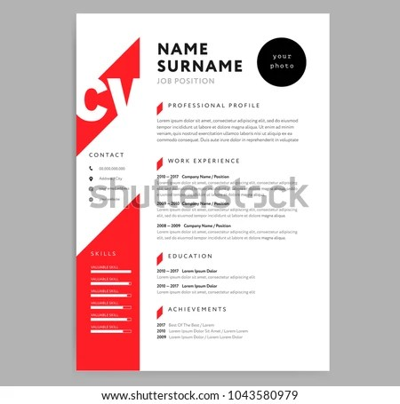 Creative CV Resume Template Red Color Stock Vector 1043580979 - curriculum vitae resume template