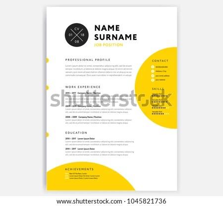 Yellow CV Resume Template Curriculum Vitae Stock Photo (Photo - example curriculum vitae