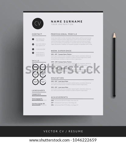 Professional CV Resume Template Design Creative Stock Vector