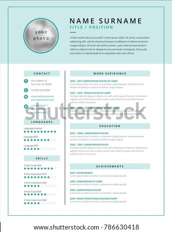 Medical CV Resume Template Example Design Stock Vector (Royalty Free