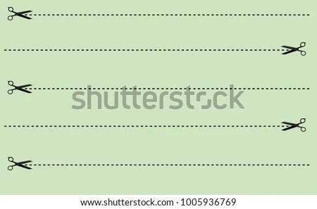 Creative Card Template Cut Lines Scissors Stock Photo (Photo, Vector