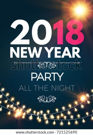 Happy New 2018 Year Party Poster Stock Vector HD (Royalty Free