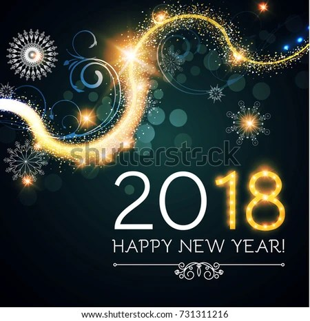 Happy New 2018 Year Flyer Template Stock Vector (2018) 731311216