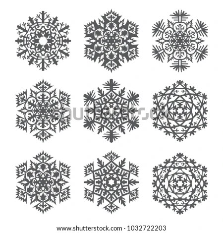 Set Laser Cutting Openwork Snowflakes Template Stock Vector (Royalty - snowflake template