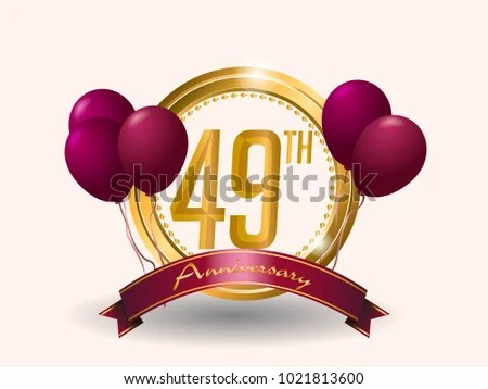 49 Anniversary Card Design Template Elegant Stock Vector (Royalty