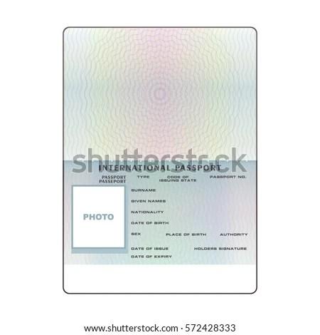 Vector International Open Passport Blank Template Stock Vector (2018 - passport template