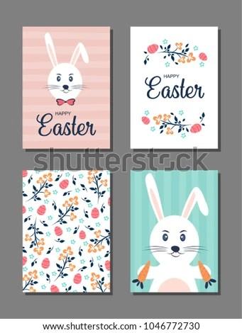 Set 4 Postcard Templates Easter Cards Stock Vector 1046772730