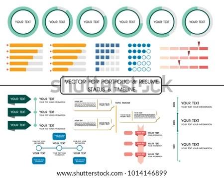 Vector Portfolio Resume Status Timeline Part Stock Vector 1014146899