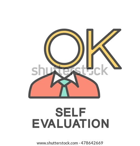 Selfevaluation Icon Fine Lines Color Fills Stock Vector 478642669 - Self Evaluation