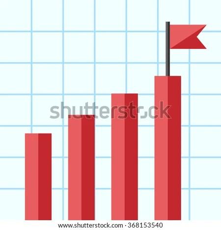 Bar Chart Flag On Top One Stock Vector (2018) 368153540 - Shutterstock