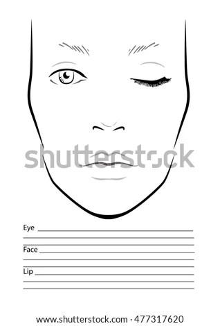Face Chart Makeup Artist Blank Template Stock Vector 441471268 - eye chart template