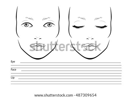 Men Face Chart Makeup Artist Blank Stock Vector 488962195 - eye chart template