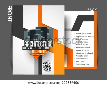 Vector Architecture Front Back Flyer Template Stock Vector 227359456 - architecture brochure template