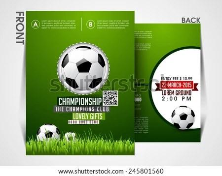 Soccer Event Flyer Template Eps 10 Brochure Stock Vector (2018 - soccer flyer template