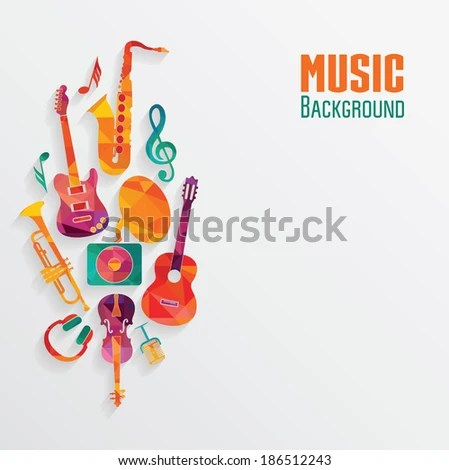Colorful Music Background Stock Vector HD (Royalty Free) 186512243