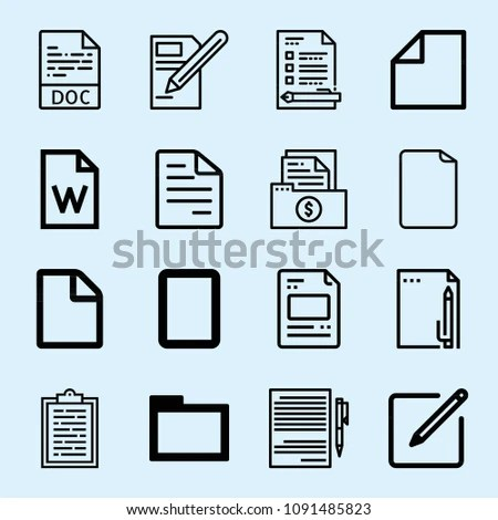 Outline Set 16 Document Icons Such Stock Vector (Royalty Free
