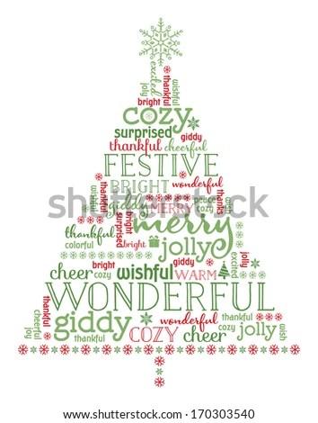 Christmas Tree Illustration Designed Words Snowflakes Stock Vector - christmas tree words