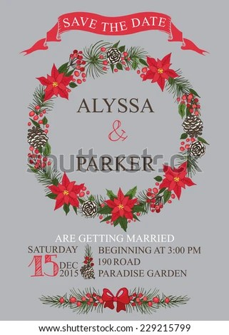Winter Wedding Save Date Card Christmas Stock Photo (Photo, Vector