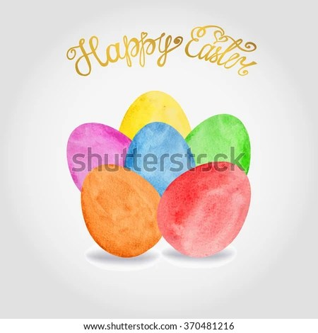 Happy Easter Greeting Card Template Easter Watercolor Stock Vector