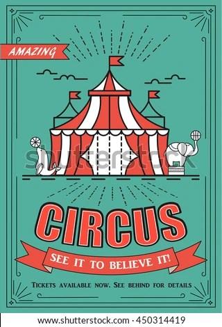 Beautiful Circus Vector Poster Flyer Retro Stock Vector (2018