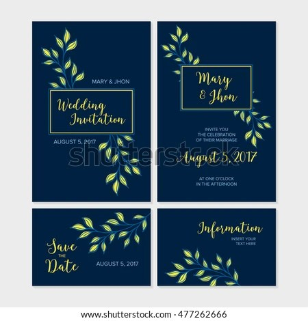 Navy Blue Wedding Invitation Template Design Stock Vector 477262666