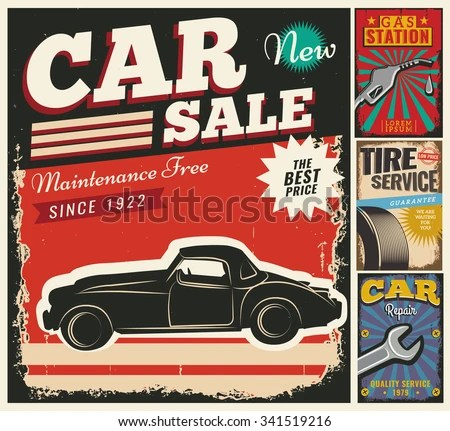 Vintage Retro Style Set Vector Cars Stock Vector 341519216 - car for sale flyer template