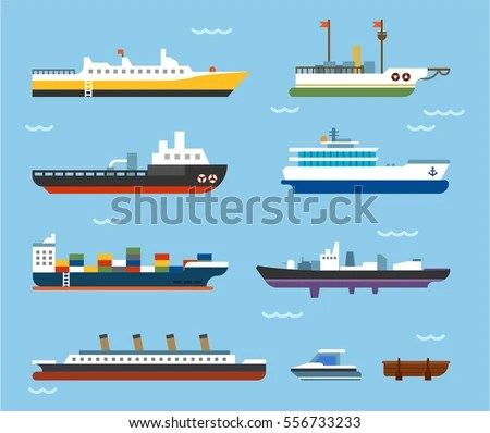 Types Large Vessels On Sea Big Stock Vector 556733233 - Shutterstock - types of ships