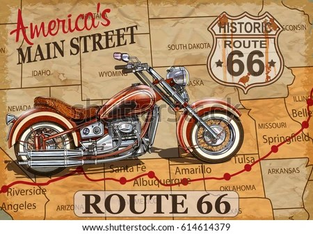 Biker Girl Wallpaper Free Download Vintage Route 66 Motorcycle Poster Stock Vector 614614379