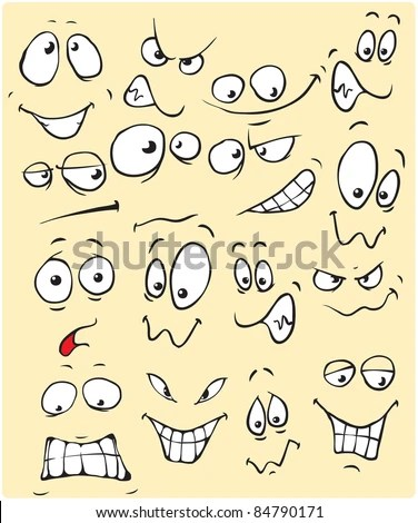Vector drawings of different expressions emotions Cartoon faces - professional character reference letter template
