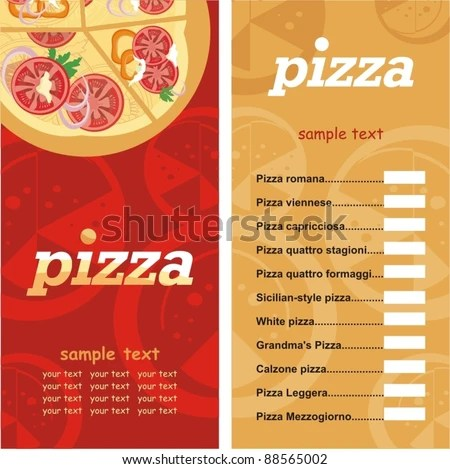 Pizza Menu Template Vector Illustration Stock Vector 88565002