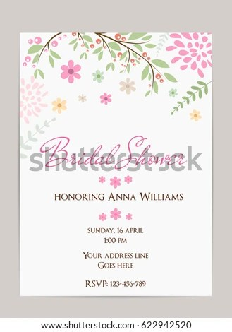 Bridal Shower Invitation Template Simple Design Stock Vector - bridal shower invitation templates