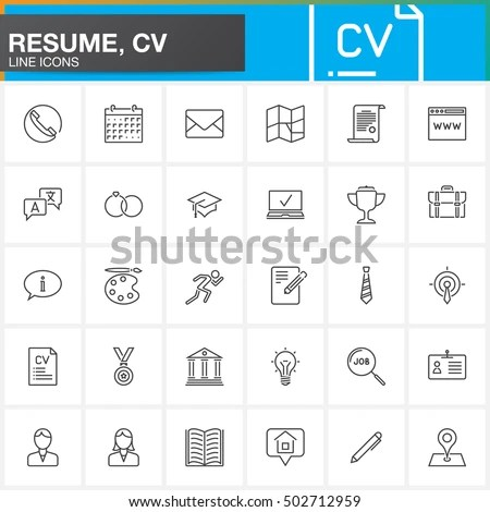Line Icons Set Resume CV Outline Stock Vector (Royalty Free - how to set a resume