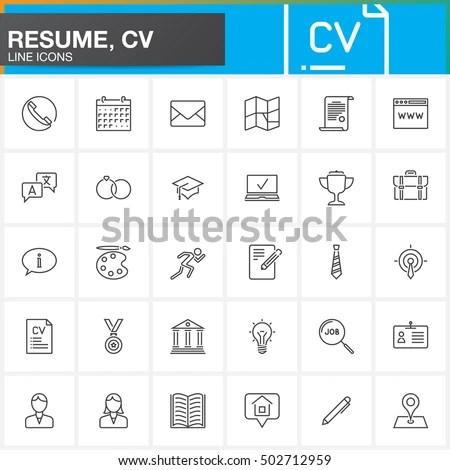 Line Icons Set Resume CV Outline Stock Vector 502712959 - Shutterstock