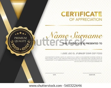 Diploma Certificate Template Black Gold Color Stock Vector 560322646