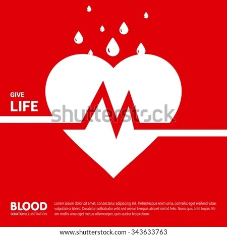 Give Life Big Heart Half Blood Stock Vector (Royalty Free) 343633763
