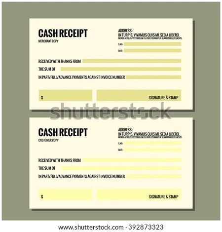 CASH RECEIPT Design Template Stock Vector (Royalty Free) 392873323 - Cash Recepit