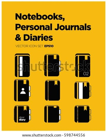Notebooks Personal Journals Diaries Icon Set Stock Vector (Royalty