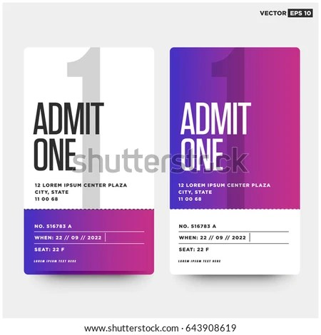 Admit One Ticket Template Number Venue Stock Vector 643908619 - admit one ticket template