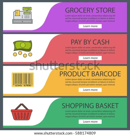 Supermarket Banner Templates Set Grocery Store Stock Vector - grocery templates
