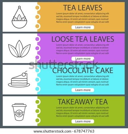 Tea Web Banner Templates Set Loose Stock Vector 678747763 - Shutterstock - loose leaf paper template