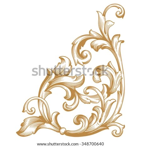 Premium Gold Vintage Baroque Frame Scroll Stock Vector 348700640 - baroque scroll designs
