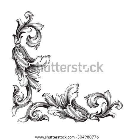 Vintage Baroque Corner Scroll Ornament Engraving Stock Vector - baroque scroll designs