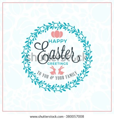 Set Vector Happy Easter Label Elements Stock Vector 380061838 - easter greeting card template