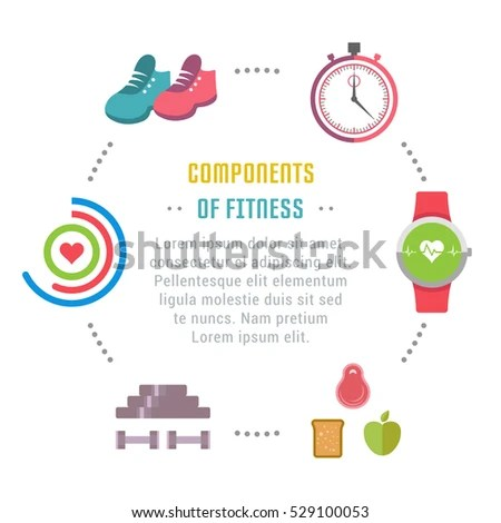Flat Line Illustration Components Fitness Concept Stock Vector