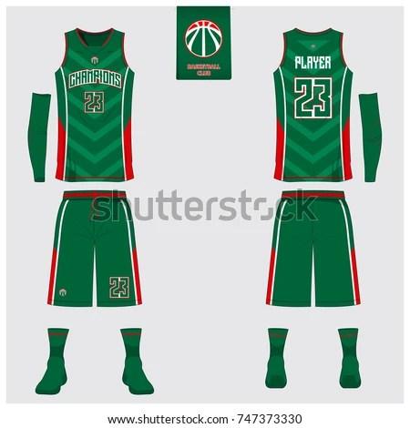 Basketball Uniform Template Design Green Tank Stock Vector (2018