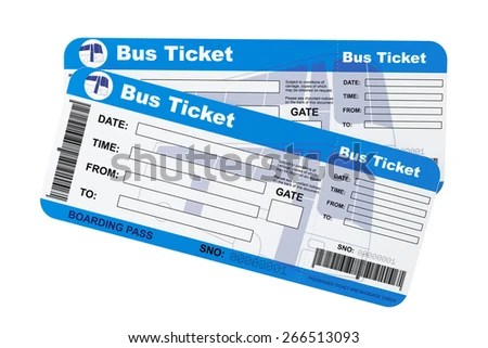 Bus Boarding Pass Tickets On White Stock Illustration 266513093 - bus pass template